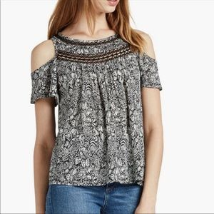 3/$20 Lucky Brand Blk/Ivory Cold Shoulder Top